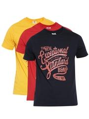 Duke Stardust Men Printed Pack of 3 Round Neck T-Shirts