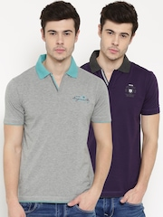 Duke Stardust Men Solid Pack of 2 Polo T-Shirts