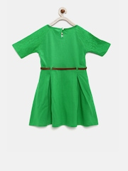 Fame Forever by Lifestyle Girls Green Belted Skater Dress