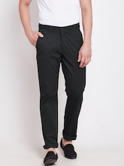 Blackberrys Men Charcoal Grey Solid Sharp Fit Flat-Front Trousers
