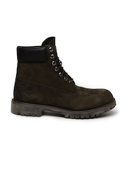 Timberland Men Brown Solid High-Tops Leather Flat Boots