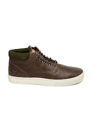 Timberland Men Brown Solid Mid-Top Leather Sneakers