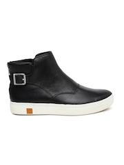 Timberland Women Black Nubuck Leather Flat Boots