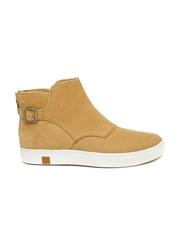 Timberland Women Tan Brown Nubuck Leather Flat Boots