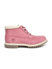 Timberland Women Pink Nellie Suede Flat Boots