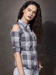 Roadster Women Grey Checked Casual Shirt