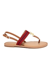 Tommy Hilfiger Women Brown & Red Colourblocked Flats