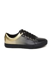 Tommy Hilfiger Women Black & Gold-Toned Printed Sneakers