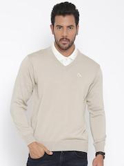 Monte Carlo Men Beige Solid Woollen Sweater