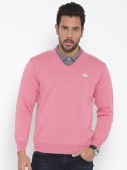 Monte Carlo Men Pink Solid Woollen Sweater