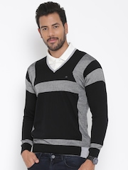 Monte Carlo Men Black & Grey Patterned Woollen Sweater