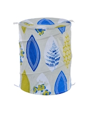 Athome by Nilkamal White & Blue Printed Foldable Laundry Bag
