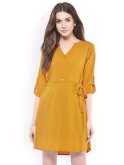 Zima Leto Women Mustard Yellow Solid A-line Dress