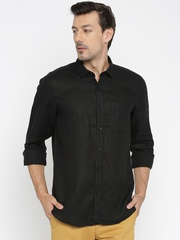 SCULLERS Men Black Solid Casual Shirt
