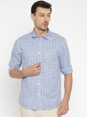 SCULLERS Men Blue & white Checked Slim Fit Casual Shirt
