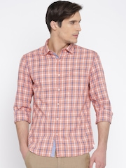 SCULLERS Men Orange & Blue Checked Slim Fit Casual Shirt