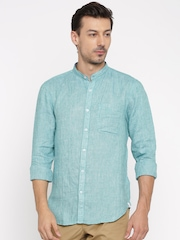 SCULLERS Men Teal Slim Fit Casual Shirt