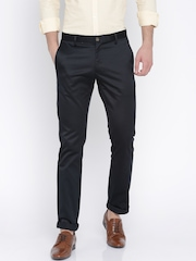 SCULLERS Men Navy Blue Slim Fit Chino Trousers