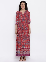 Global Desi Women Red Printed Maxi Dress