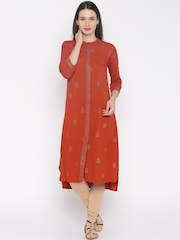 Global Desi Women Rust Orange Printed A-Line Kurta