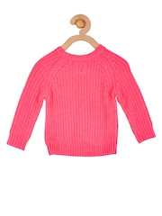 Cherry Crumble Girls Pink Solid Sweater