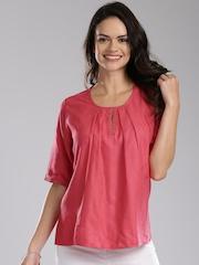 Fabindia Women Pink Solid Top