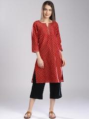 Fabindia Women Red Printed Silk Kurta