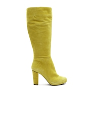 Geox Respira Women Chartreuse Yellow Breathable Italian Patent Goat Suede Heeled Boots
