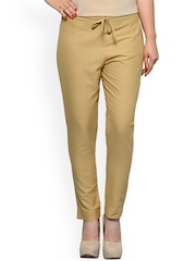 Tulsattva Women Beige Solid Tapered Fit Trousers