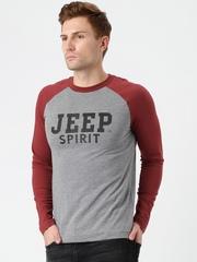 Jeep Unisex Grey Melange & Brick Red Printed Round Neck T-Shirt