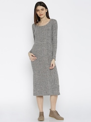ether Women Charcoal Grey & Taupe Self-Design Jersey Dress
