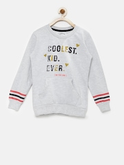 Palm Tree Girls Grey Melange Printed Sweatshirt