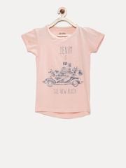 Gini and Jony Girls Peach-Coloured Printed & Embellished Top