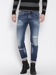 Replay Men Blue Tapered Fit Mid-Rise Highly Distress Jeans