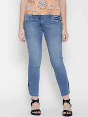 Park Avenue Women Blue Skinny Fit Mid-Rise Clean Look Ankle-Length Jeans