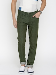 Slub Men Olive Green Slim Fit Mid Rise Clean Look Jeans