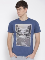 Pepe Jeans Men Blue Graphic Print Round Neck T-shirt