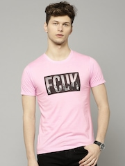 db1b522a1be6f8 French Connection Men Pink Printed T shirt available at Myntra for Rs.959