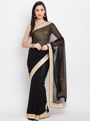 Jashn Black Chiffon Embellished Saree
