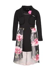 CUTECUMBER Girls Black Solid Sheath Dress