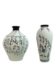 ExclusiveLane Set of 2 White & Black Terracotta Hand-Painted Vases