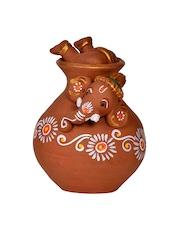 EXclusiveLane Brown Terracotta Ganesha Idol Showpiece