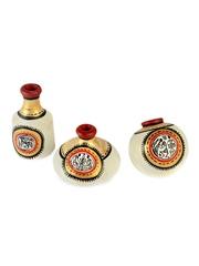 ExclusiveLane Set of 3 White Warli Handpainted Terracotta Pot Showpieces