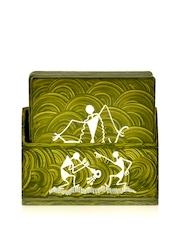 ExclusiveLane Set of 6 Green Warli Hand-Painted Square Recycled Wooden Coasters