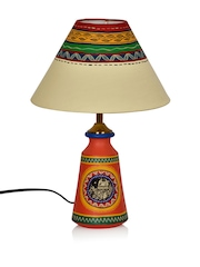 ExclusiveLane Orange Terracotta Hand-painted Lamp with Lamp Shade