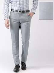 INVICTUS Men Grey Solid Slim Fit Flat-Front Formal Trousers