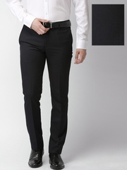 INVICTUS Men Black Self-Design Slim Fit Flat-Front Formal Trousers