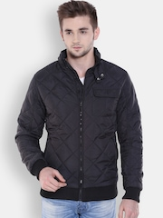 Arrow New York Black Quilted Jacket with Detachable Hood