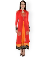 Ira Soleil Red & Orange Printed Layered Kurta