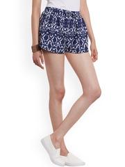 WISSTLER Women Blue & White Printed Crepe Regular Fit Shorts